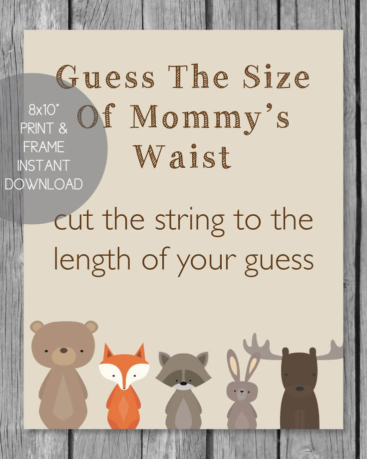 Woodland Animals Printable Guess The Size Of Mommy's Waist