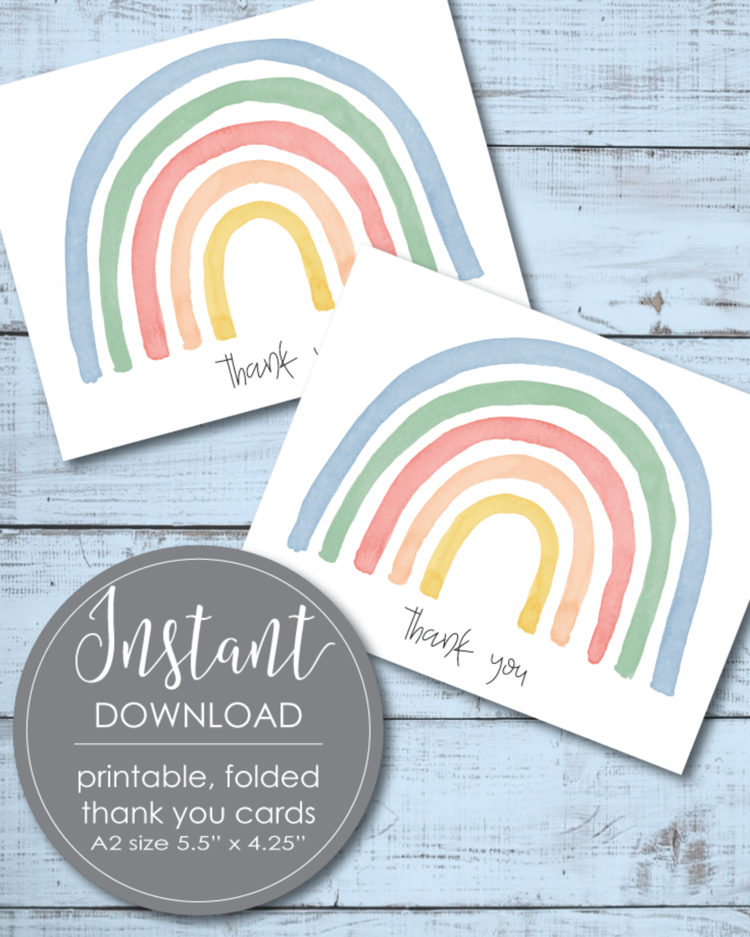 Printable Thank You Card - Rainbow Theme - 5.5 x 4.25""