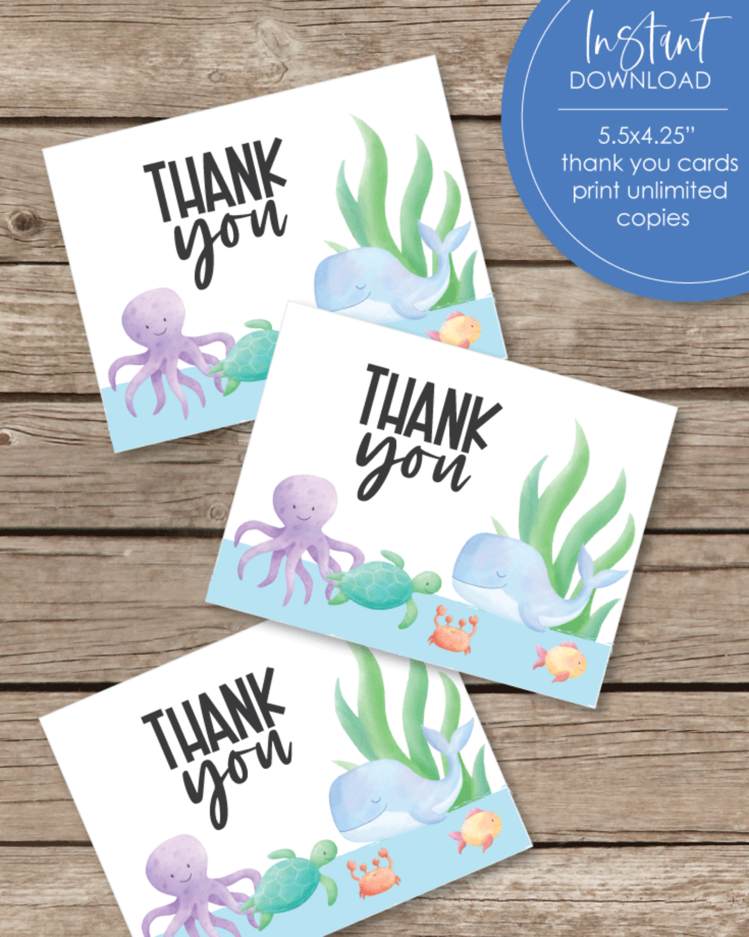 Printable Thank You Card - Under The Sea, Sea Creature Theme - 5.5 x 4.25