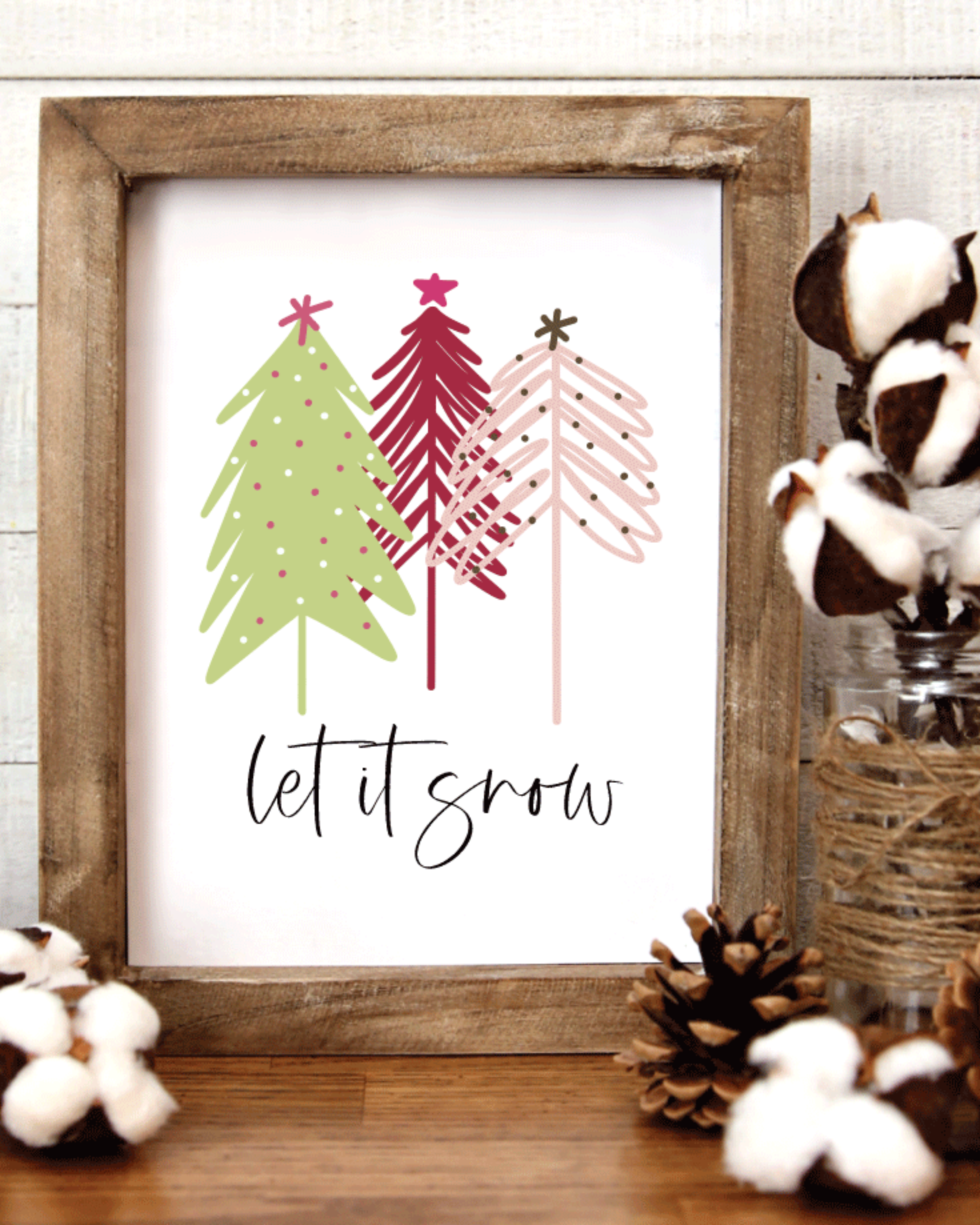 Printable, Let It Snow, Holiday Winter Christmas Wall Art Sign Print