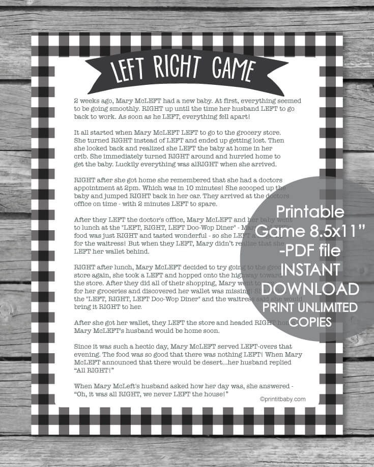 Printable Left Right Baby Shower Game Black And White Plaid Print