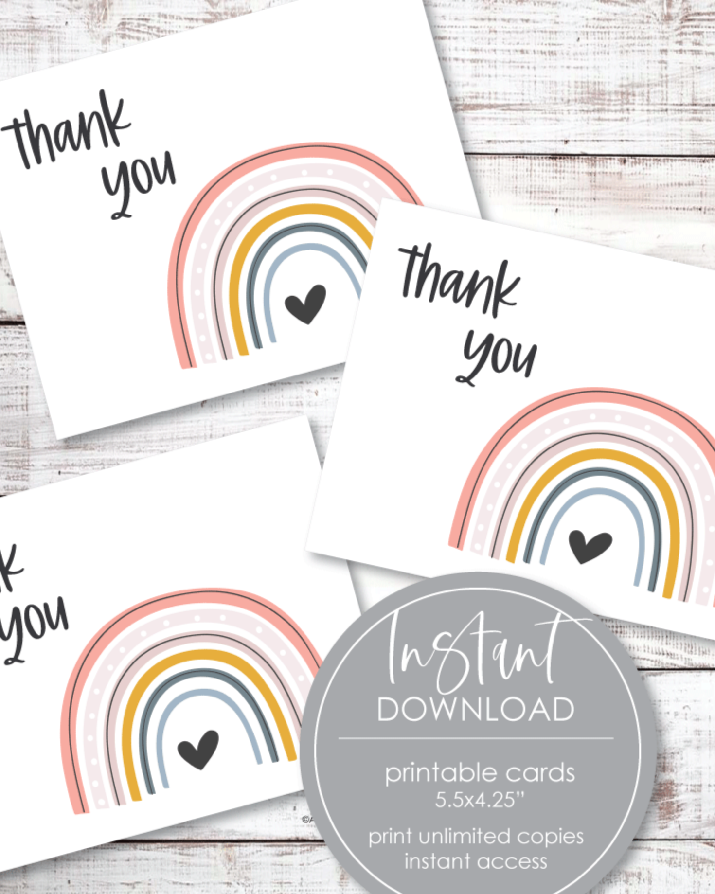 "Printable Thank You Card - Boho Rainbow Theme - 5.5 x 4.25"" Folded"