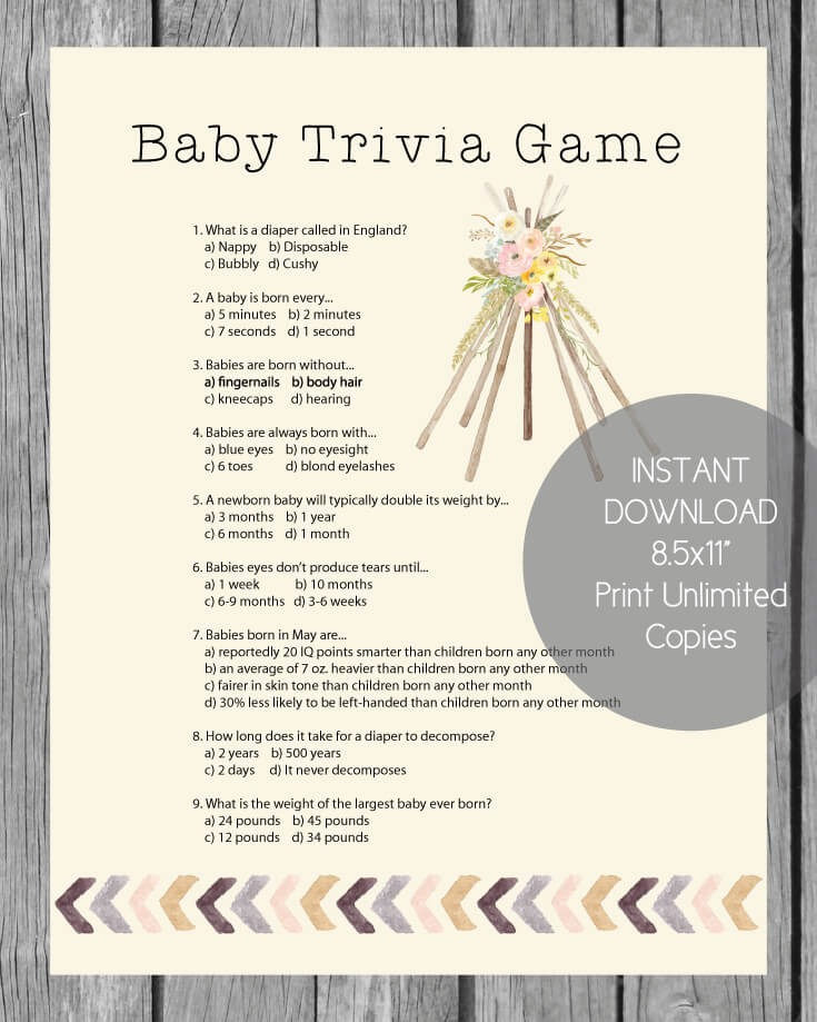 Printable Baby Shower Trivia Game - Boho Bohemian Tee Pee Tribal Theme