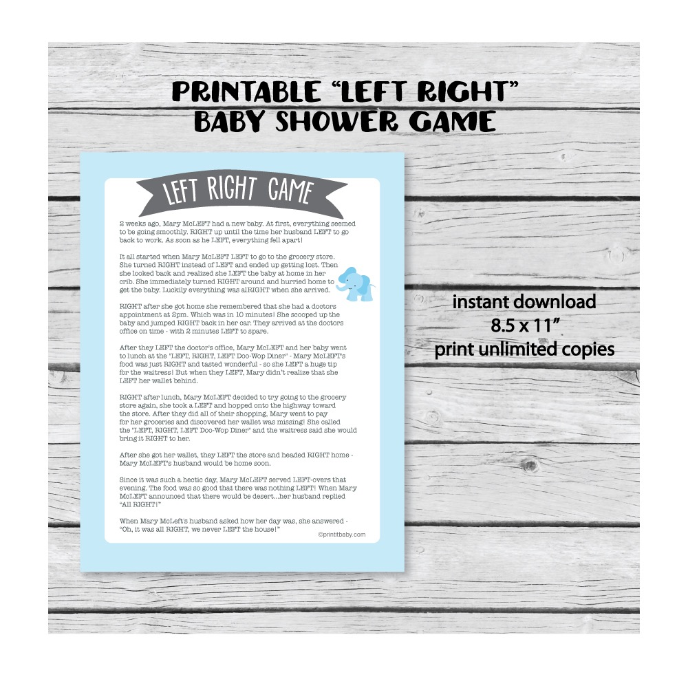 Printable Left Right Baby Shower Game Blue Elephant Jungle Theme