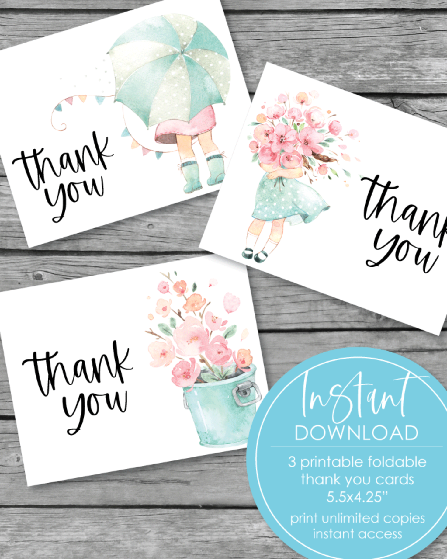 "Printable Thank You Cards - Little Girl Flowers Theme - 3 styles - 5.5 x 4.25"" Folded"