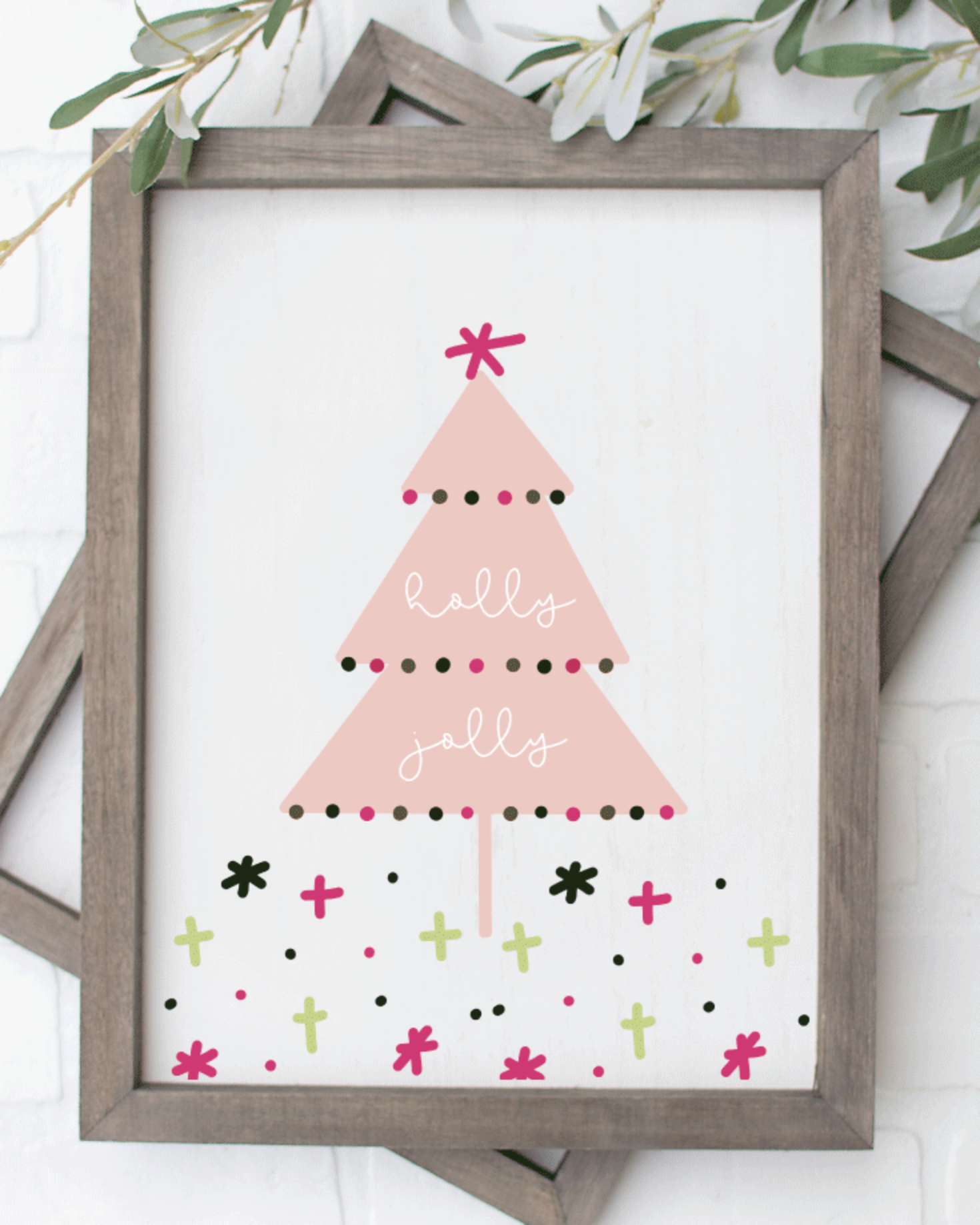 Printable, Holly Jolly, Holiday Winter Christmas Wall Art Sign Print