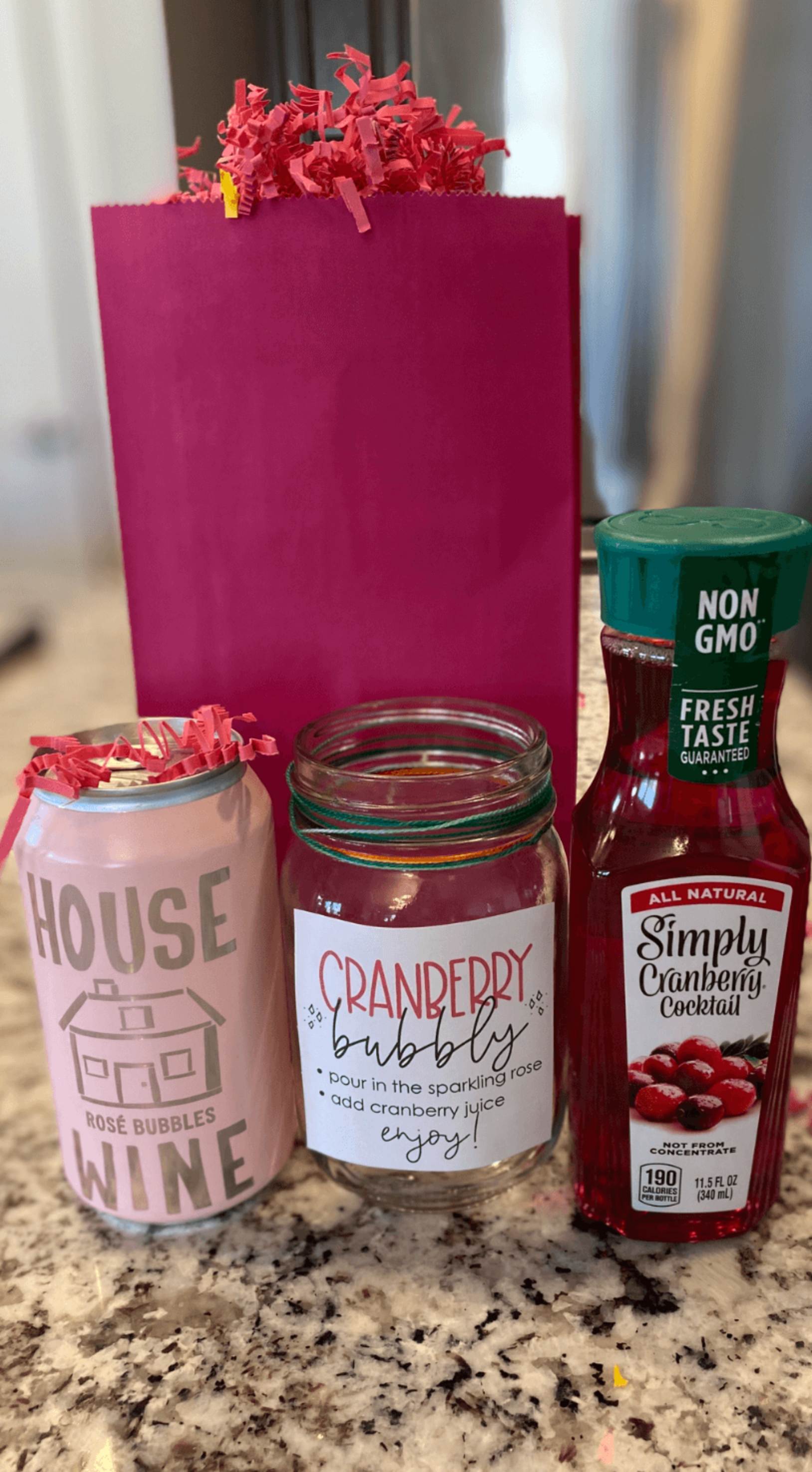 Printable Cranberry Bubbly In A Jar Tags - 3x3""