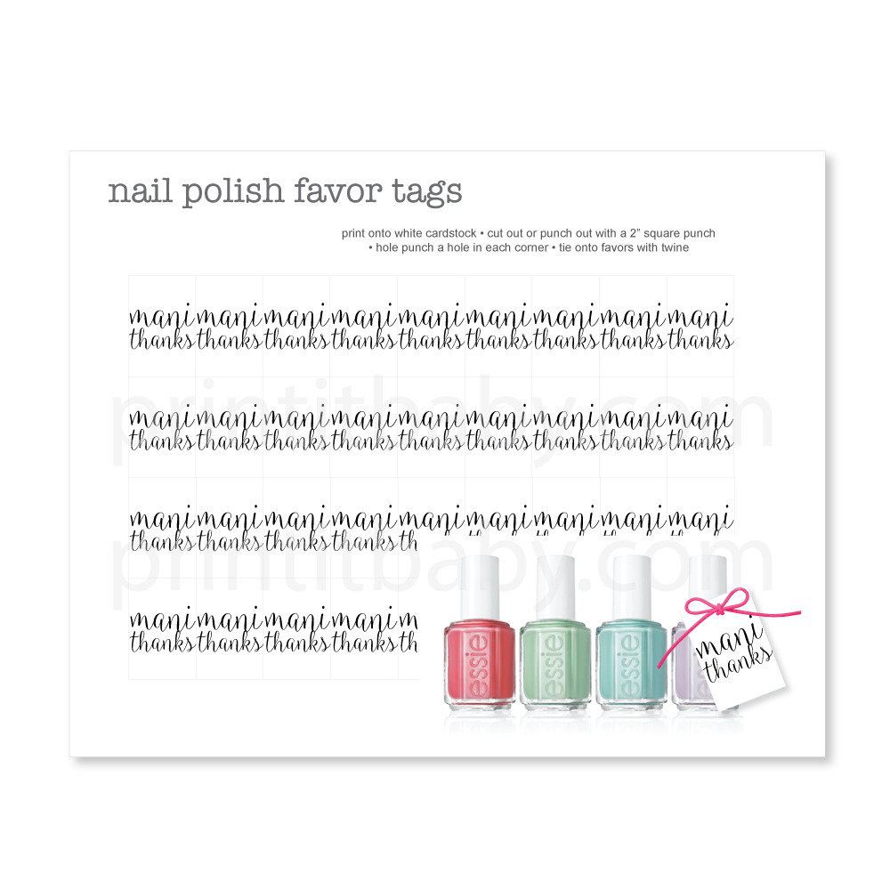 Mani Thanks Favor Tags - Black & White