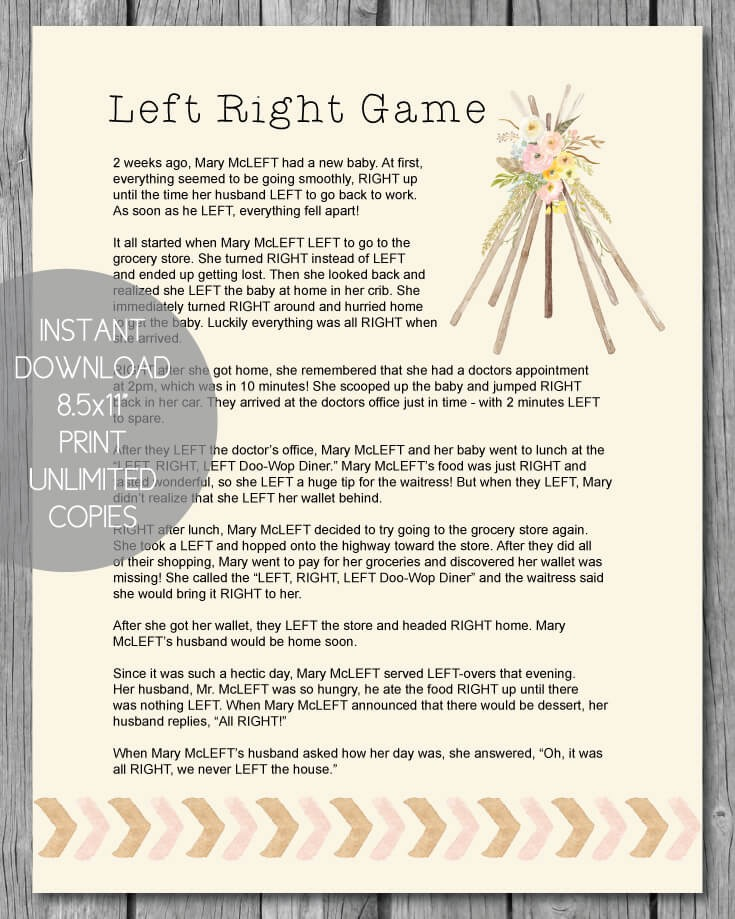 Printable Left Right Baby Shower Game - Boho Teepee Theme