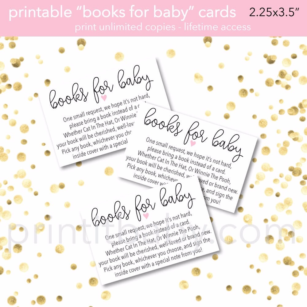 Printable Pink Heart Books For Baby Cards