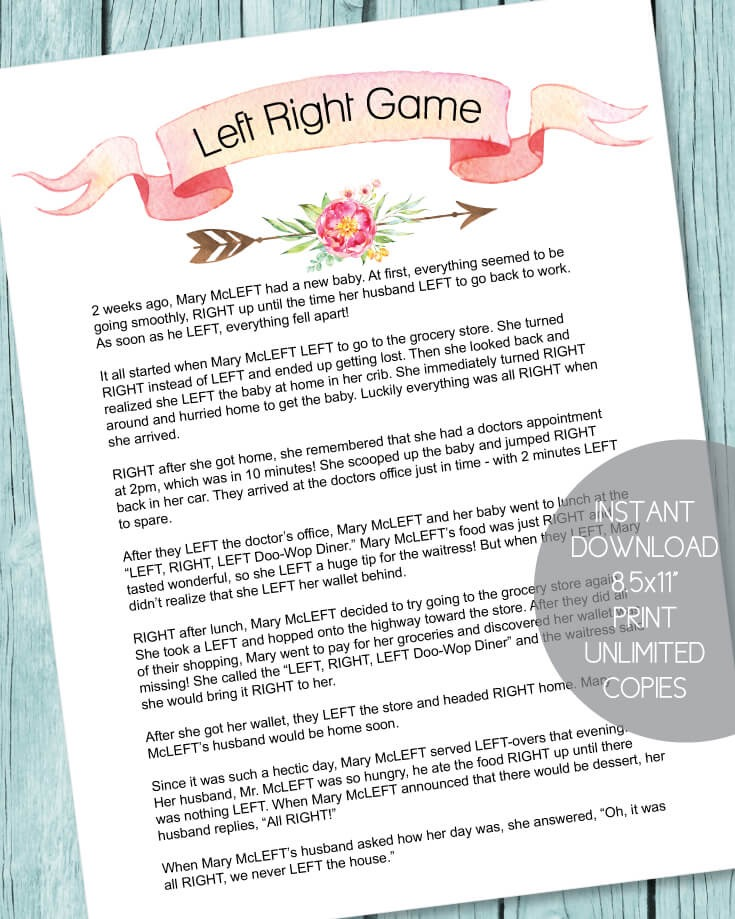 Printable Left Right Baby Shower Game - Boho Arrow Theme