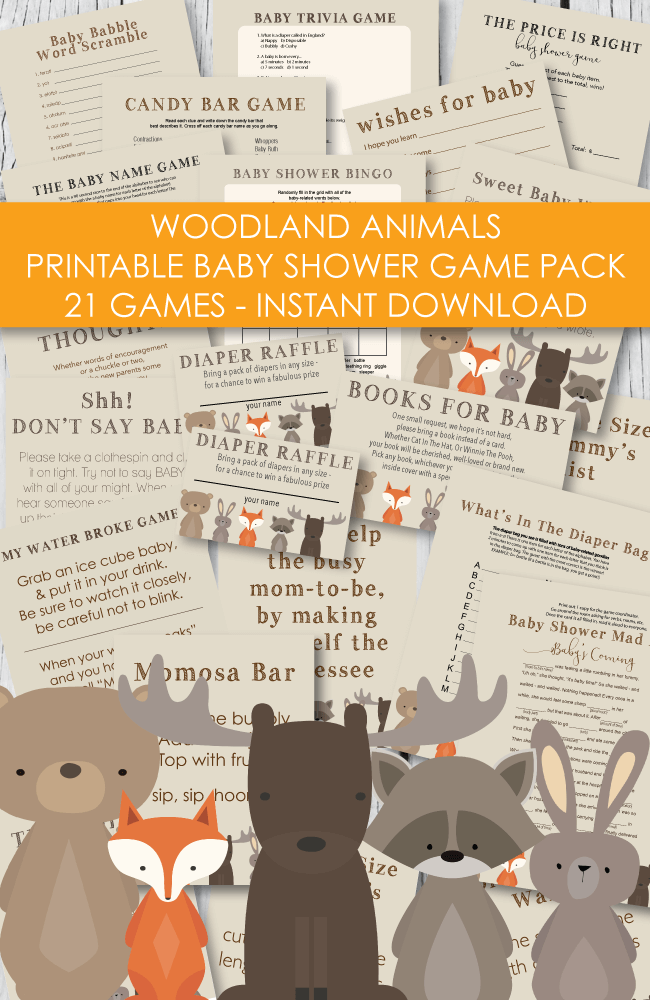 21 Printable Baby Shower Games - Super Game Pack - Woodland Animals Theme