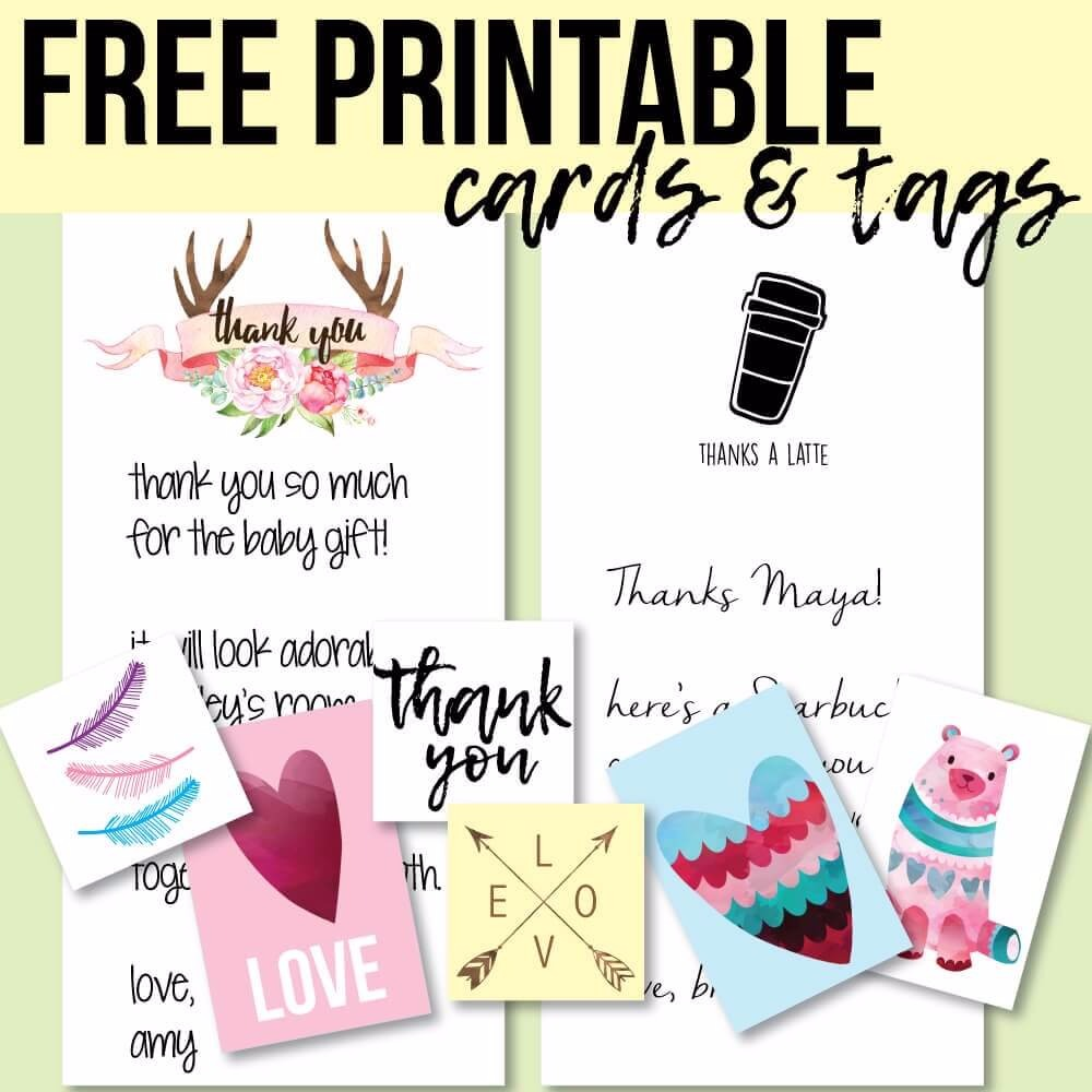 Free Printable Thank You Cards & Tags