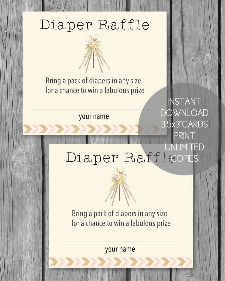 Printable Baby Shower Diaper Raffle Tickets - Boho Teepee Tribal Baby Shower Theme