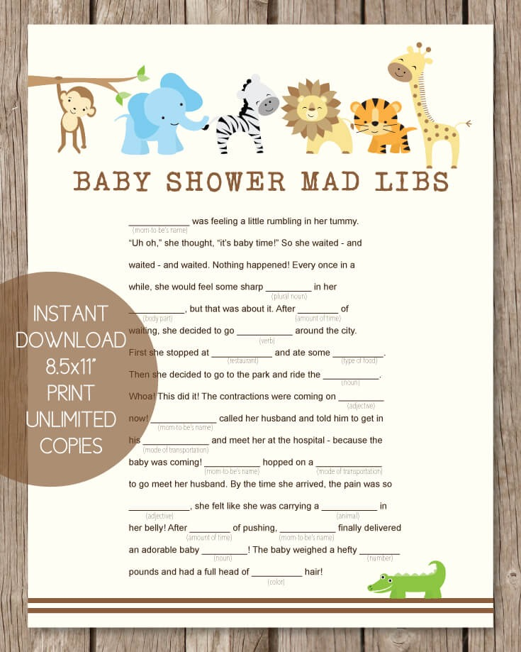 Printable Baby Shower Mad Libs - Jungle Theme