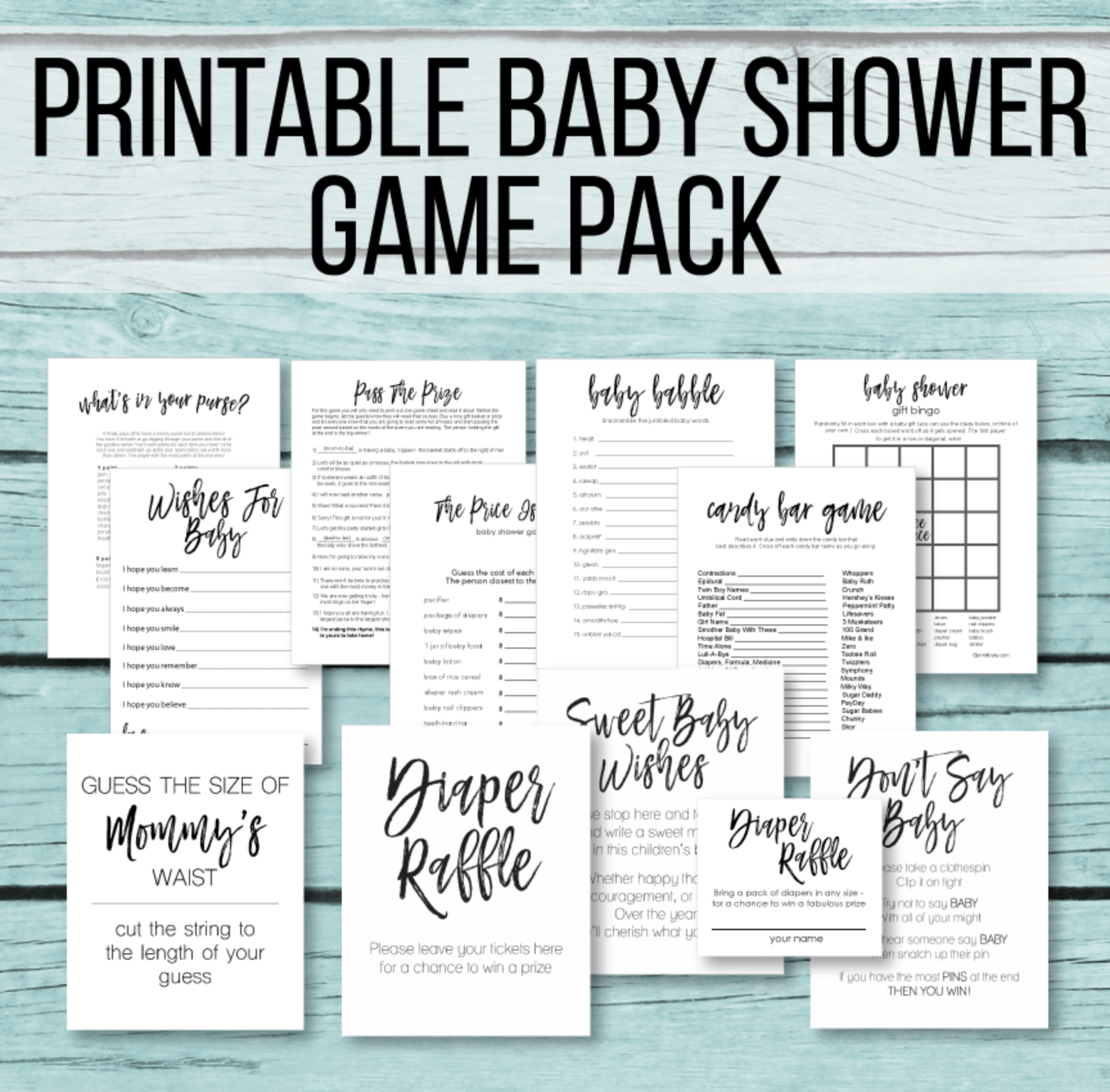 11 Printable Baby Shower Games - Black & White Mini Game Pack