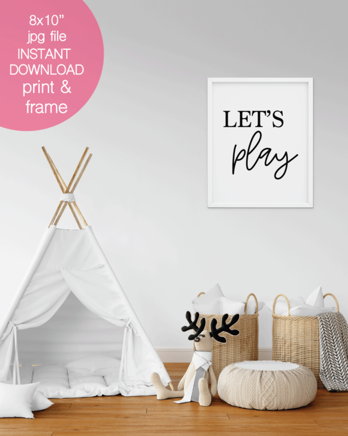 Printable Let's Play Wall Art, Nursery, Kid's Room or Playroom Print