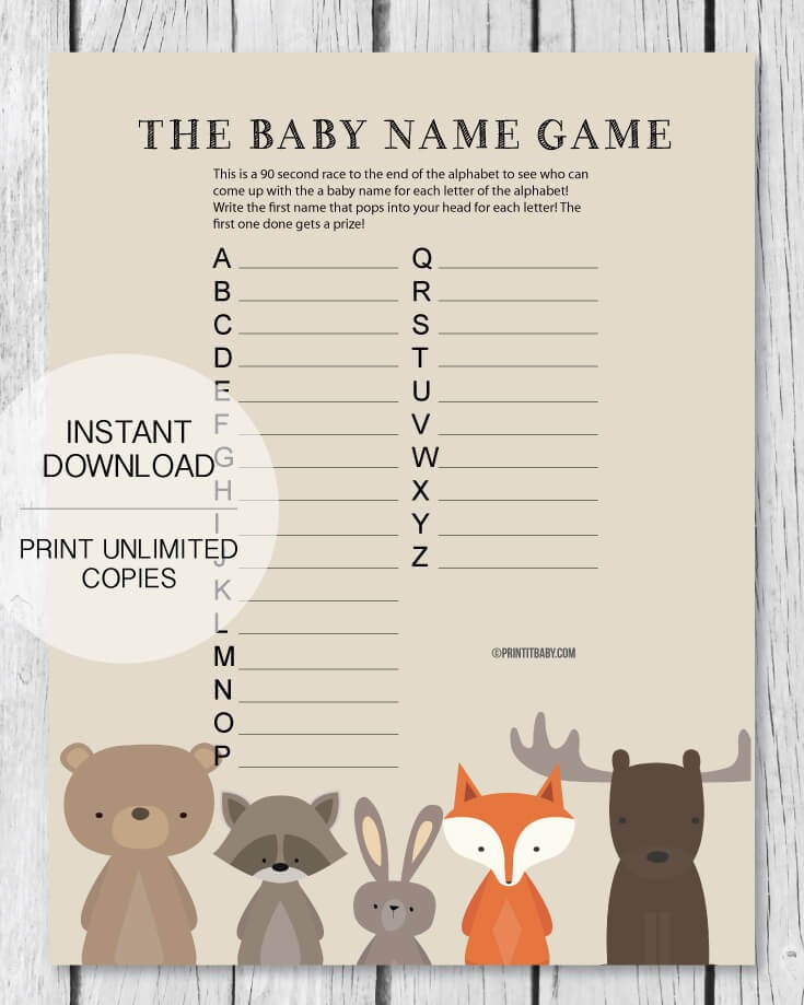 Printable Baby Shower Name Game - Baby Shower Names A to Z - Woodland Theme