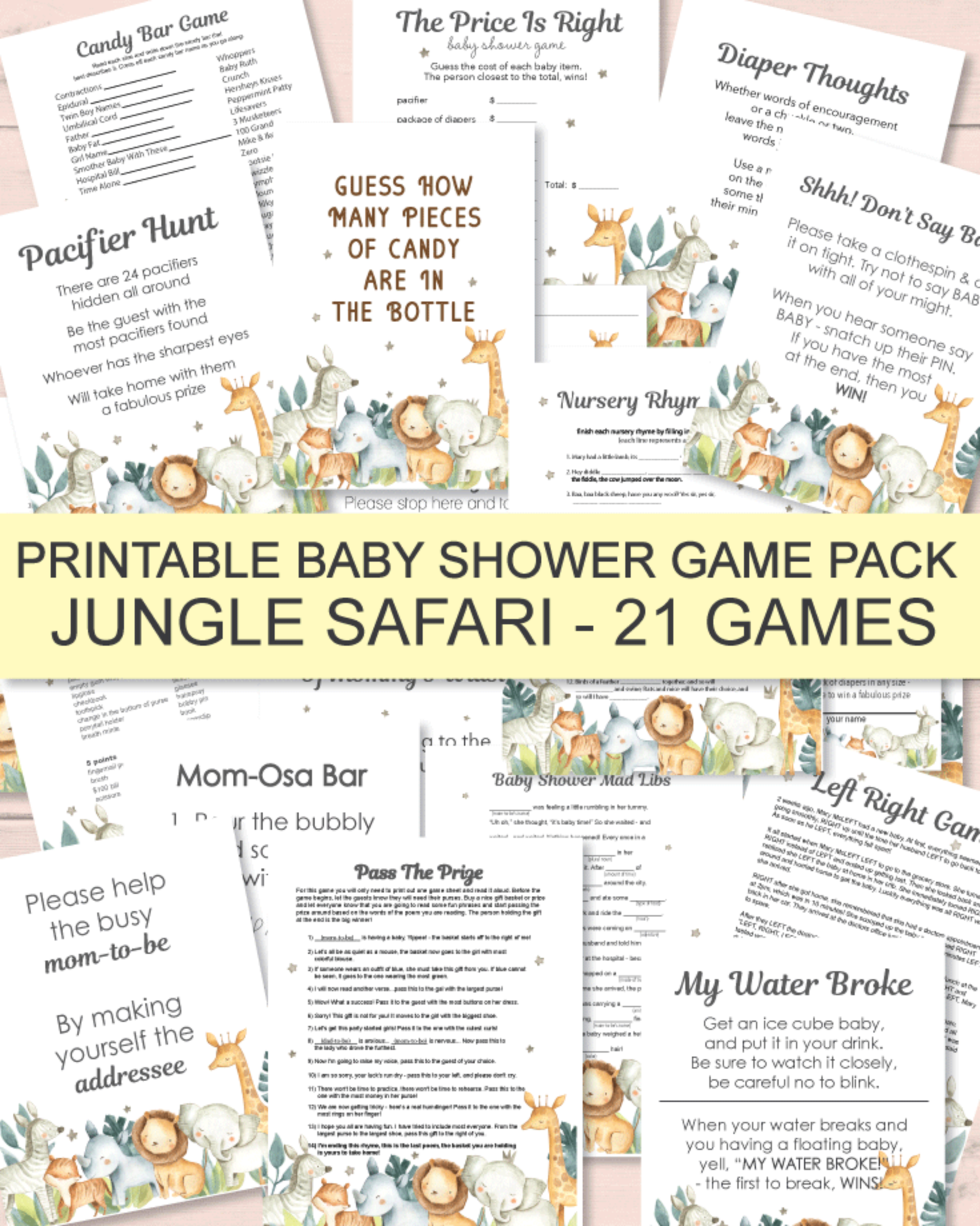 21 Printable Baby Shower Games - Super Game Pack - Jungle Safari Theme
