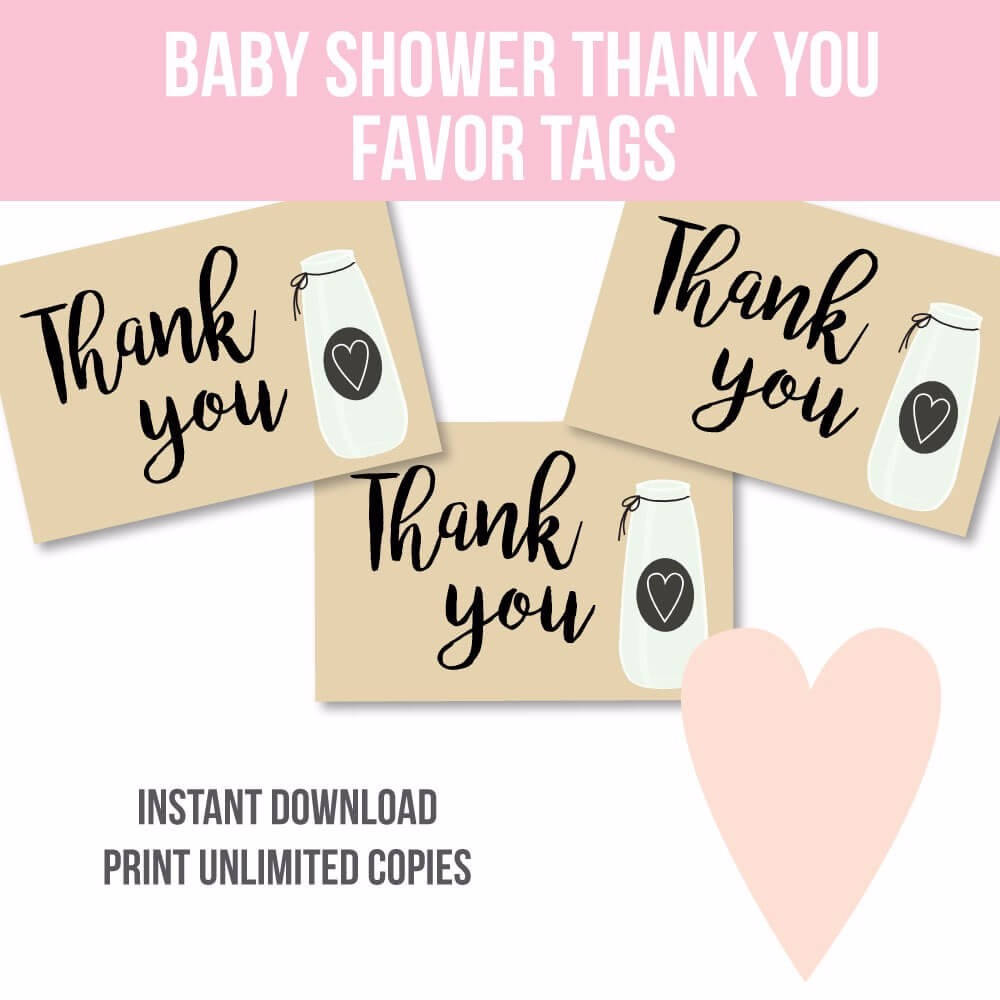 Free Milk Jar Baby Shower Thank You Favor Tags