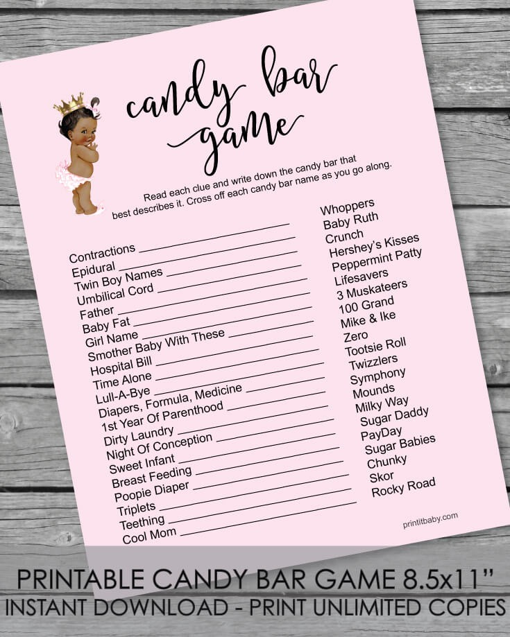 Printable Baby Shower Candy Bar Game - African American Baby Girl Pink