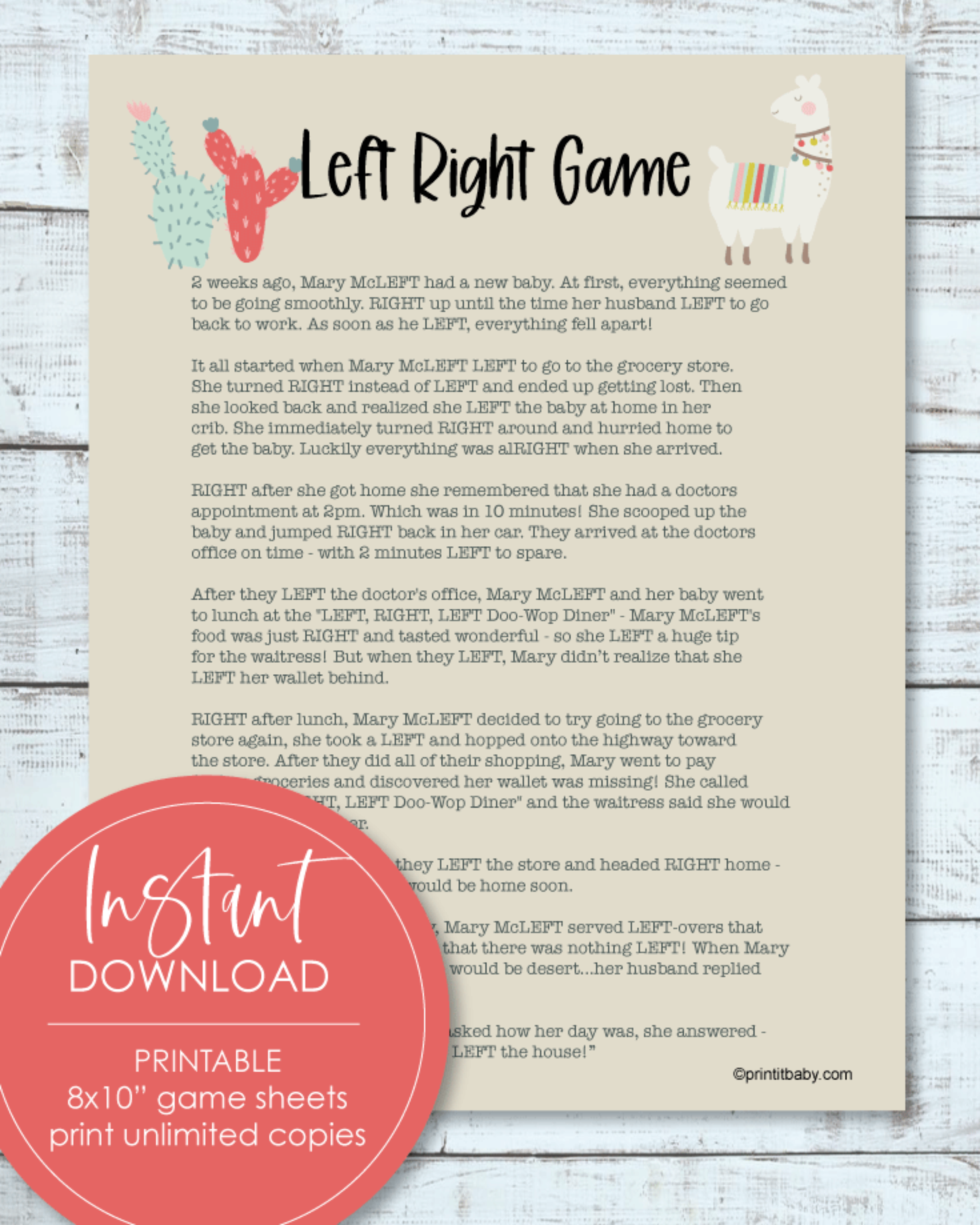 Printable Left Right Baby Shower Game Llama, Cactus, Boho Theme