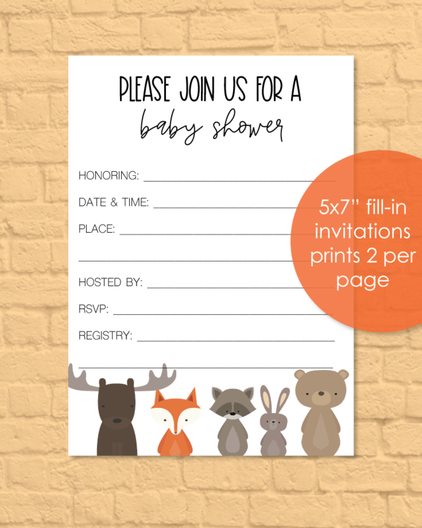 Printable Baby Shower Invitations - Woodland Animal