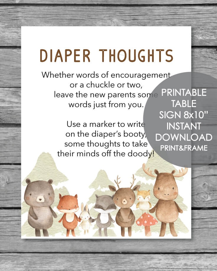Late Night Diaper Thoughts Baby Shower Activity -  Woodland Animals Watercolor