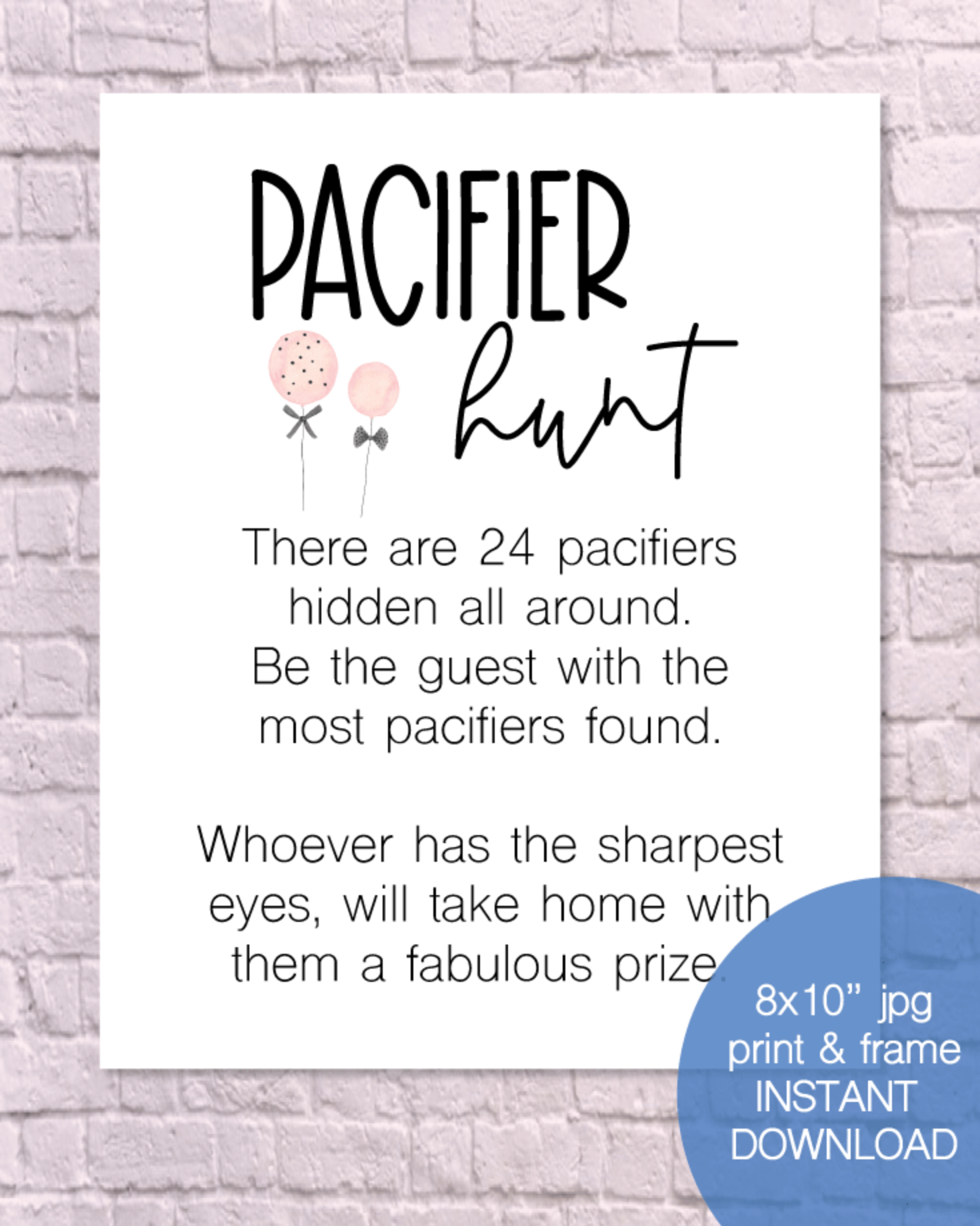 Printable Pacifier Hunt Baby Shower Game Sign - Pink Balloons