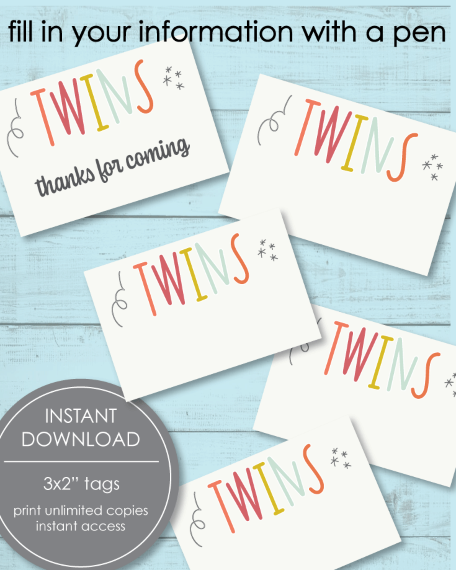Printable Twin Baby Shower Tags - 3x2""