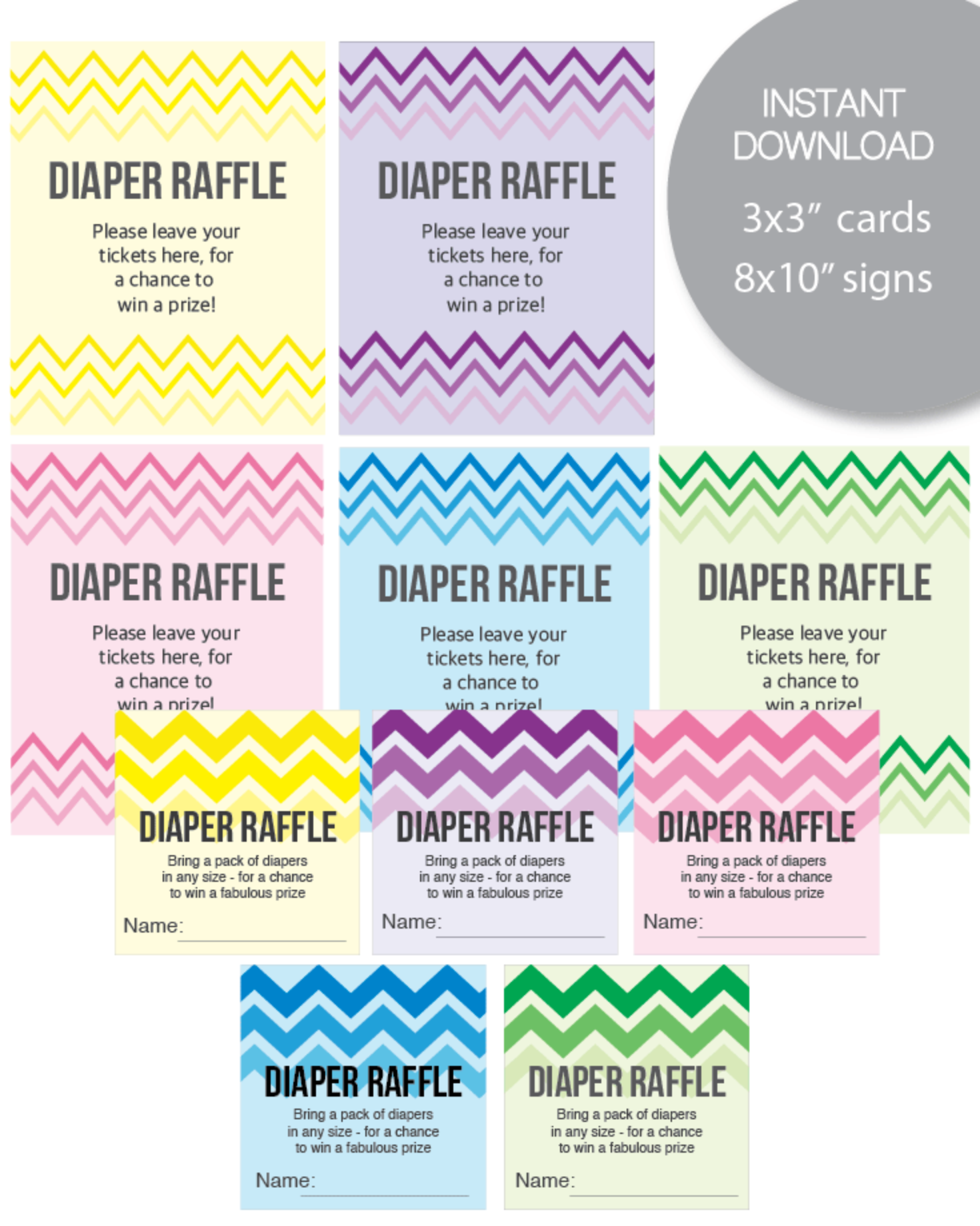 Printable Chevron Ombre Diaper Raffle Tickets And Signs