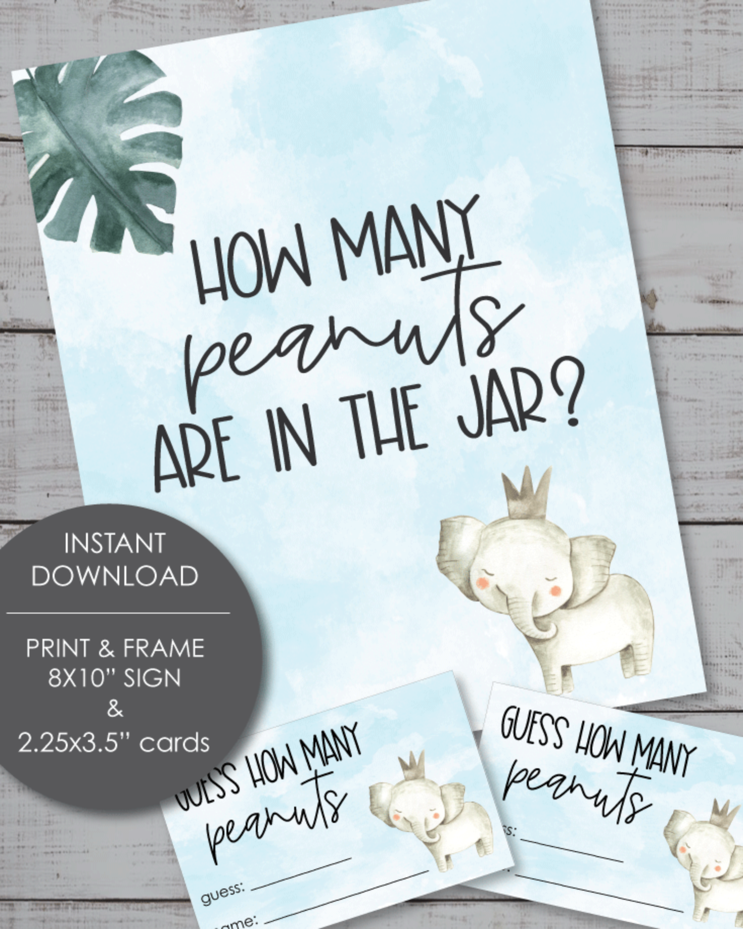 Printable Guess How Many Peanuts Baby Shower Game - Blue Elephant Theme