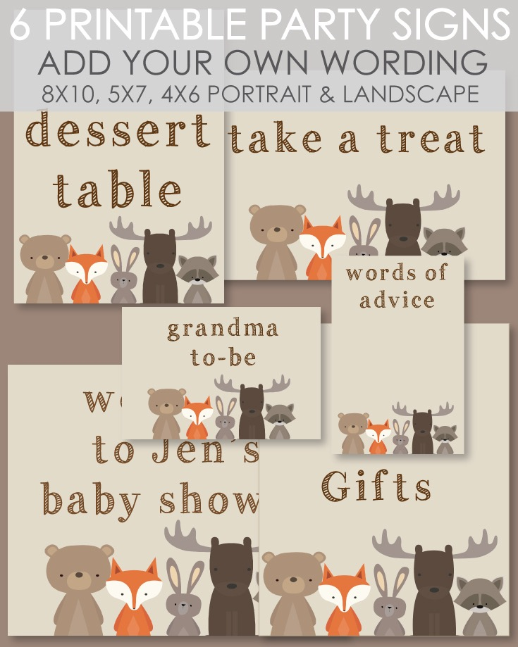 6 Printable Signs Woodland Animals Theme - Customize