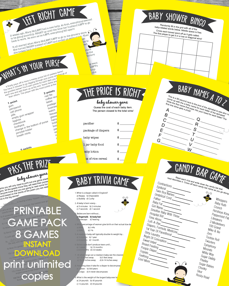 Printable Baby Shower Game Pack - Yellow Baby Bee Theme