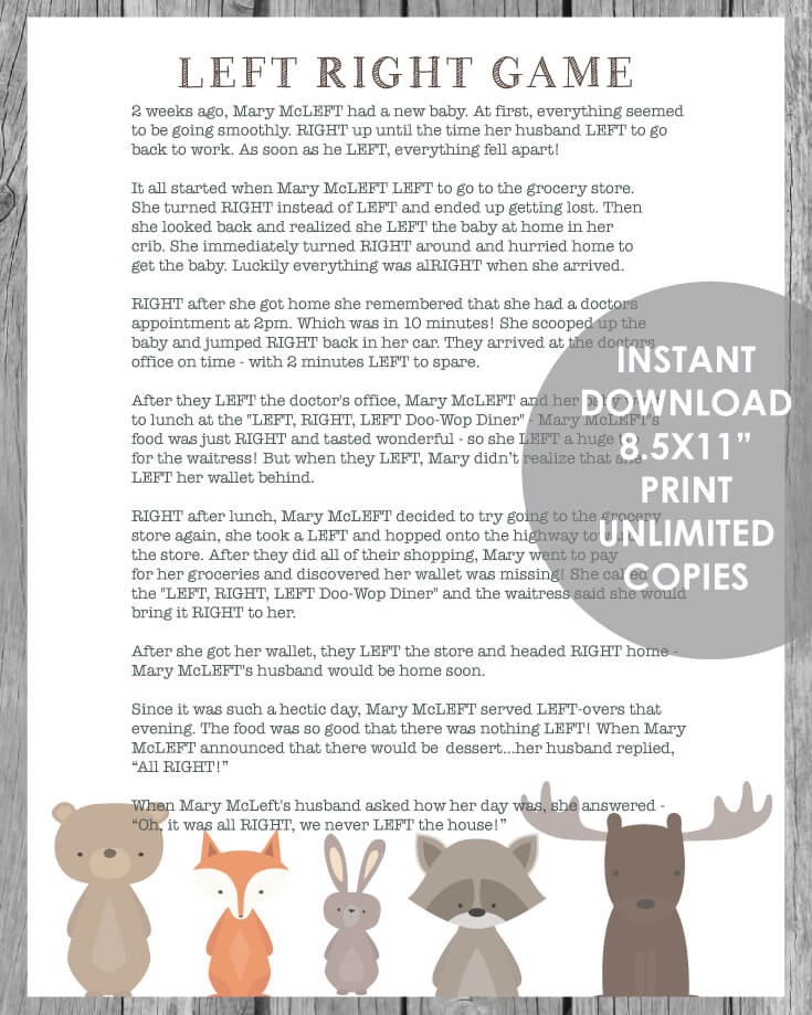 Woodland Animal Printable Left Right Baby Shower Game - White Background