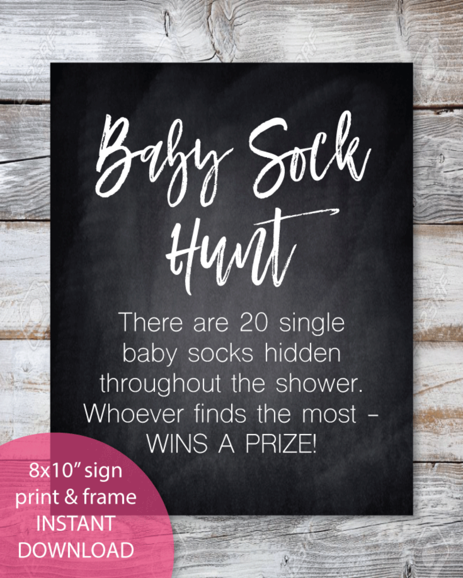 Printable Sock Hunt Baby Shower Game Sign 8x10