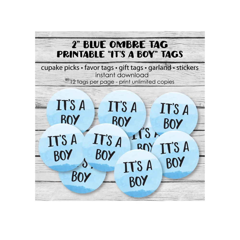 Free Printable Blue Ombre It's A Boy Baby Shower Tags