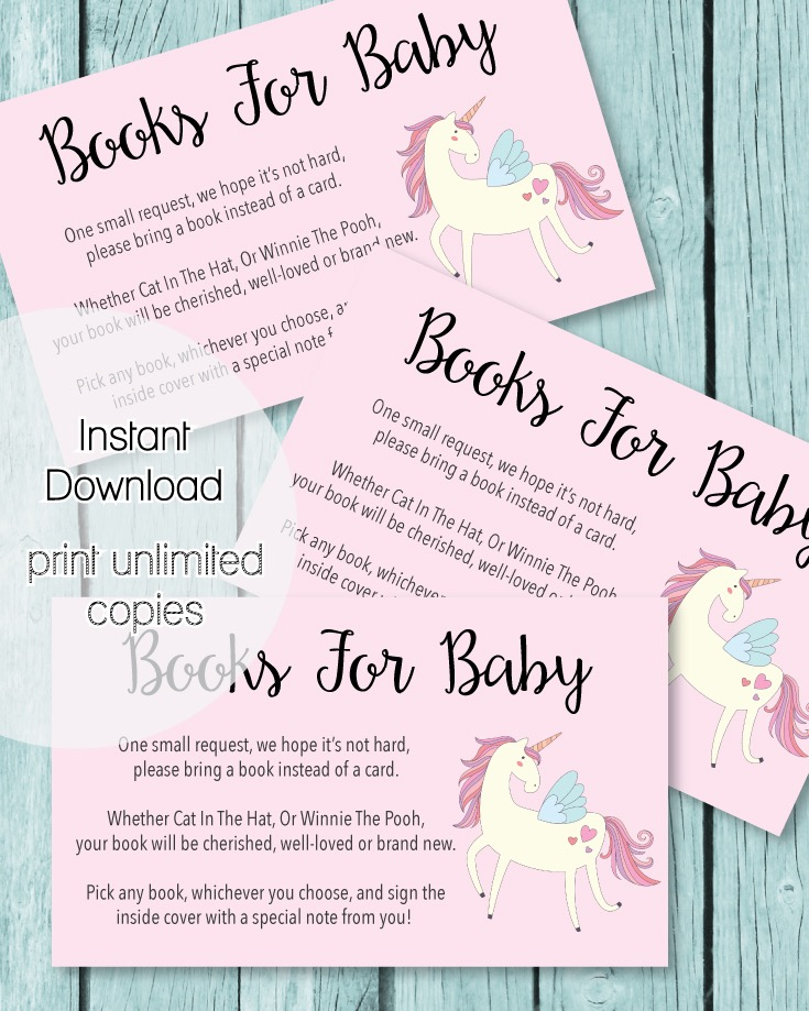 Printable Books For Baby Cards - Pink Unicorn Theme