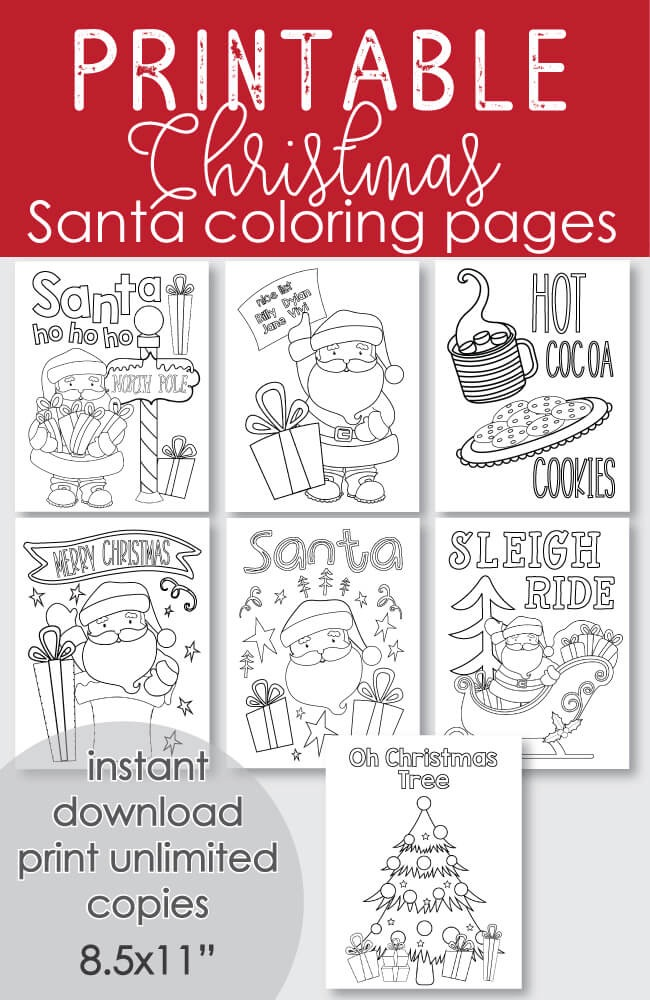 ​FREE Printable Santa Christmas Coloring Pages - 7 pages Holiday Winter Theme