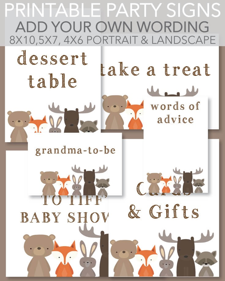 6 Printable Signs Woodland Animals Theme White Background - Customize