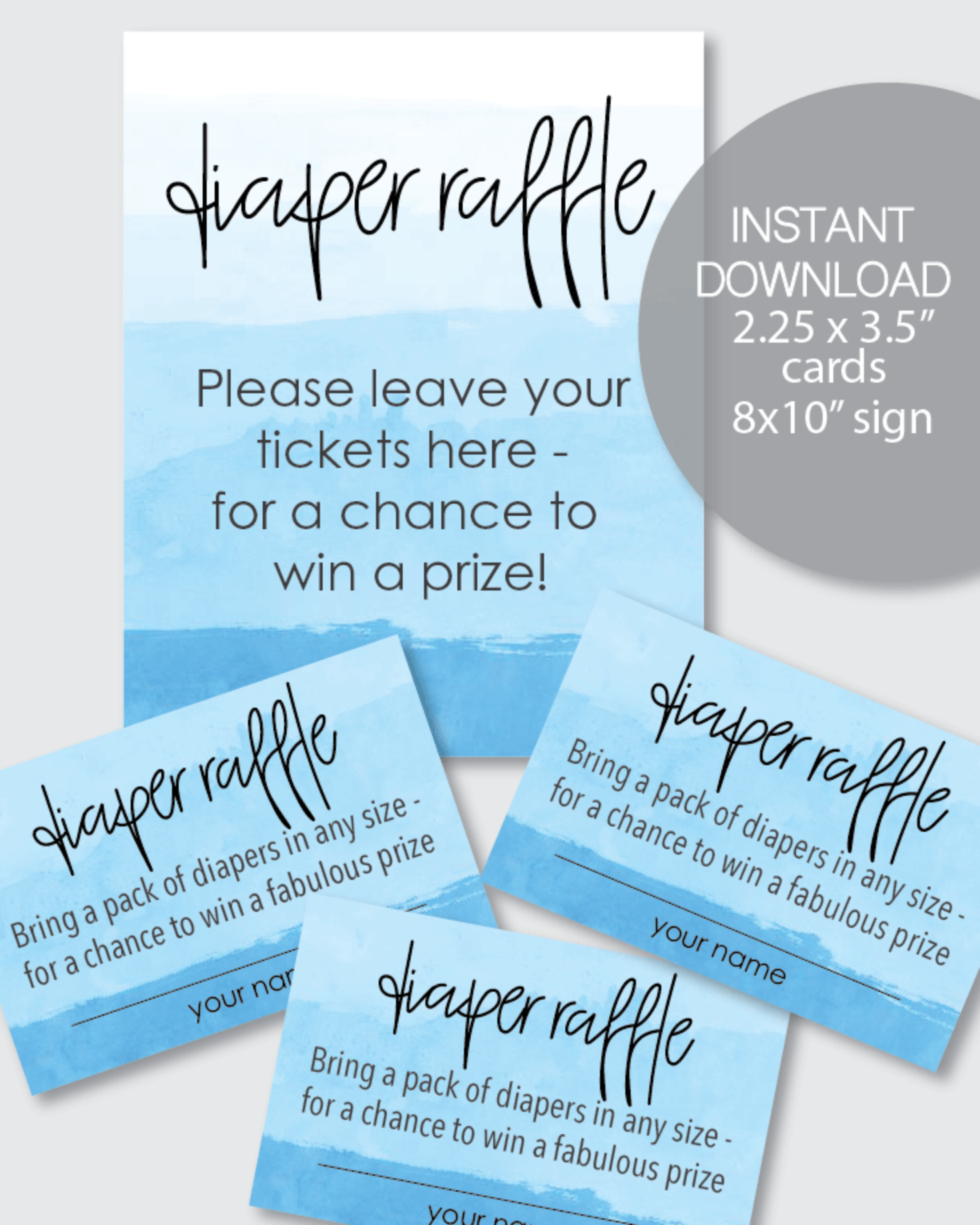 Blue Ombre Diaper Raffle Tickets & Matching Sign