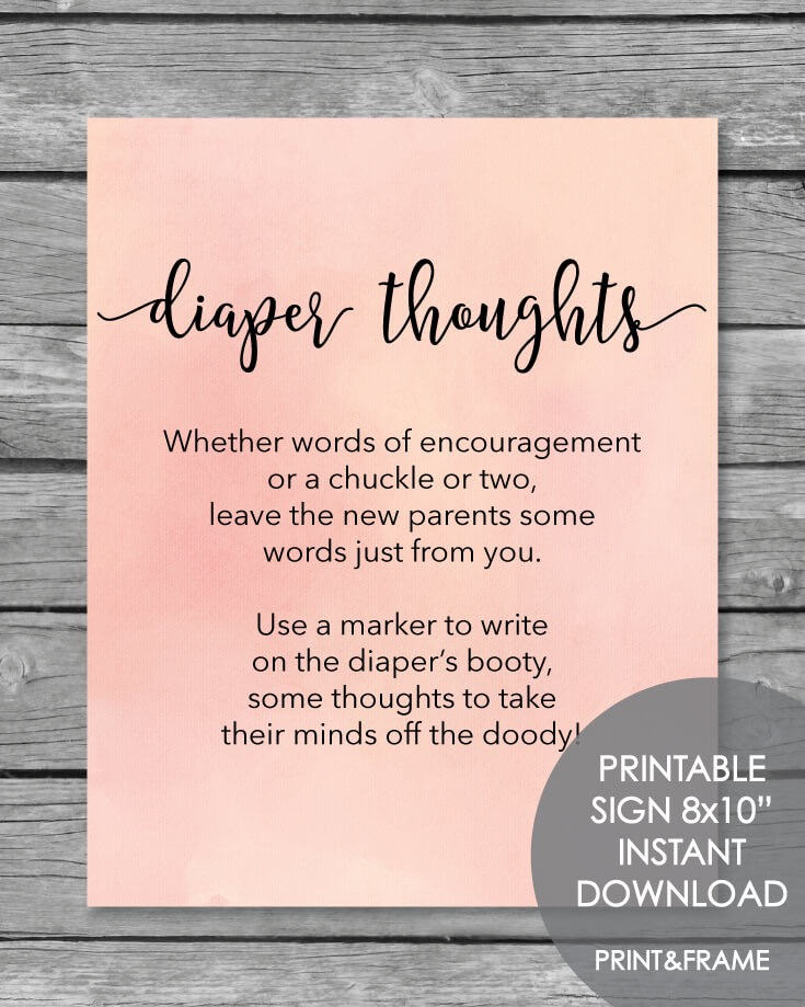 Late Night Diaper Thoughts Baby Shower Activity - Blush Pink Watercolor