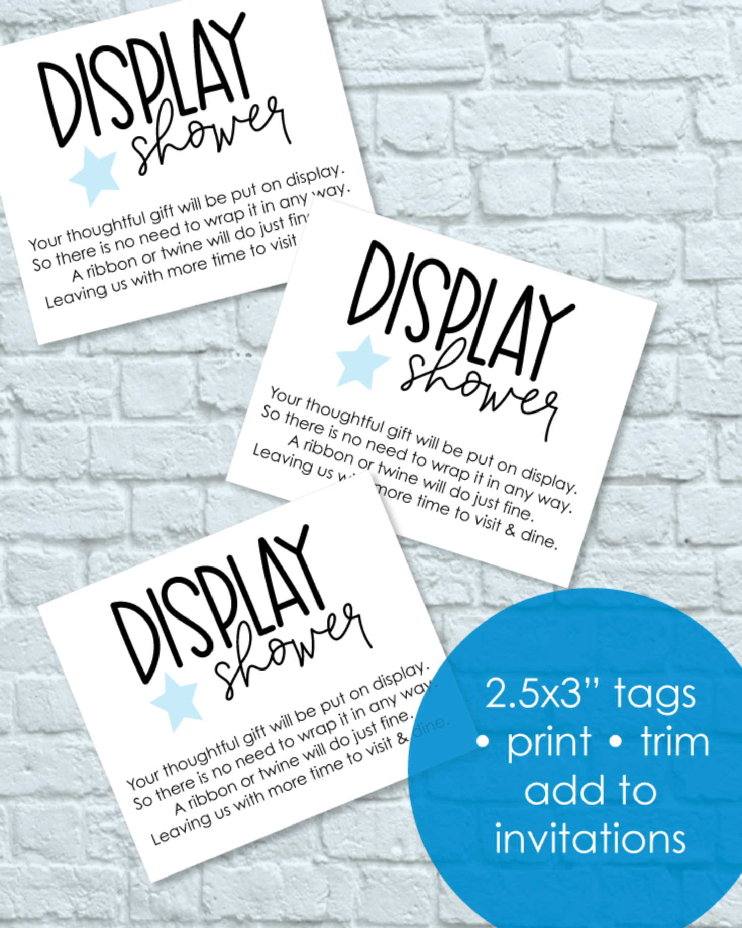 Printable Blue Star Display Baby Shower Cards