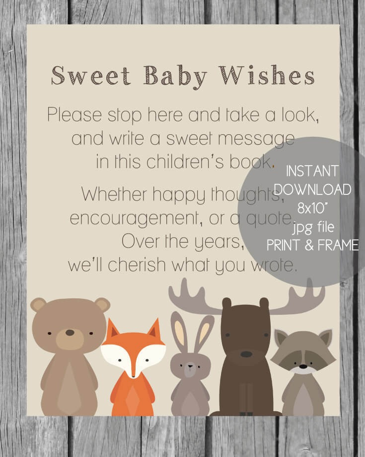 Woodland Animals Printable Baby Wishes Book Sign