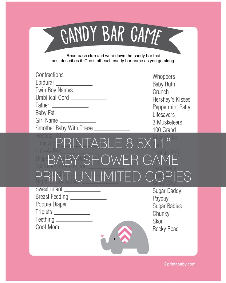 Baby Shower Candy Bar Game - Pink Elephant Jungle Theme
