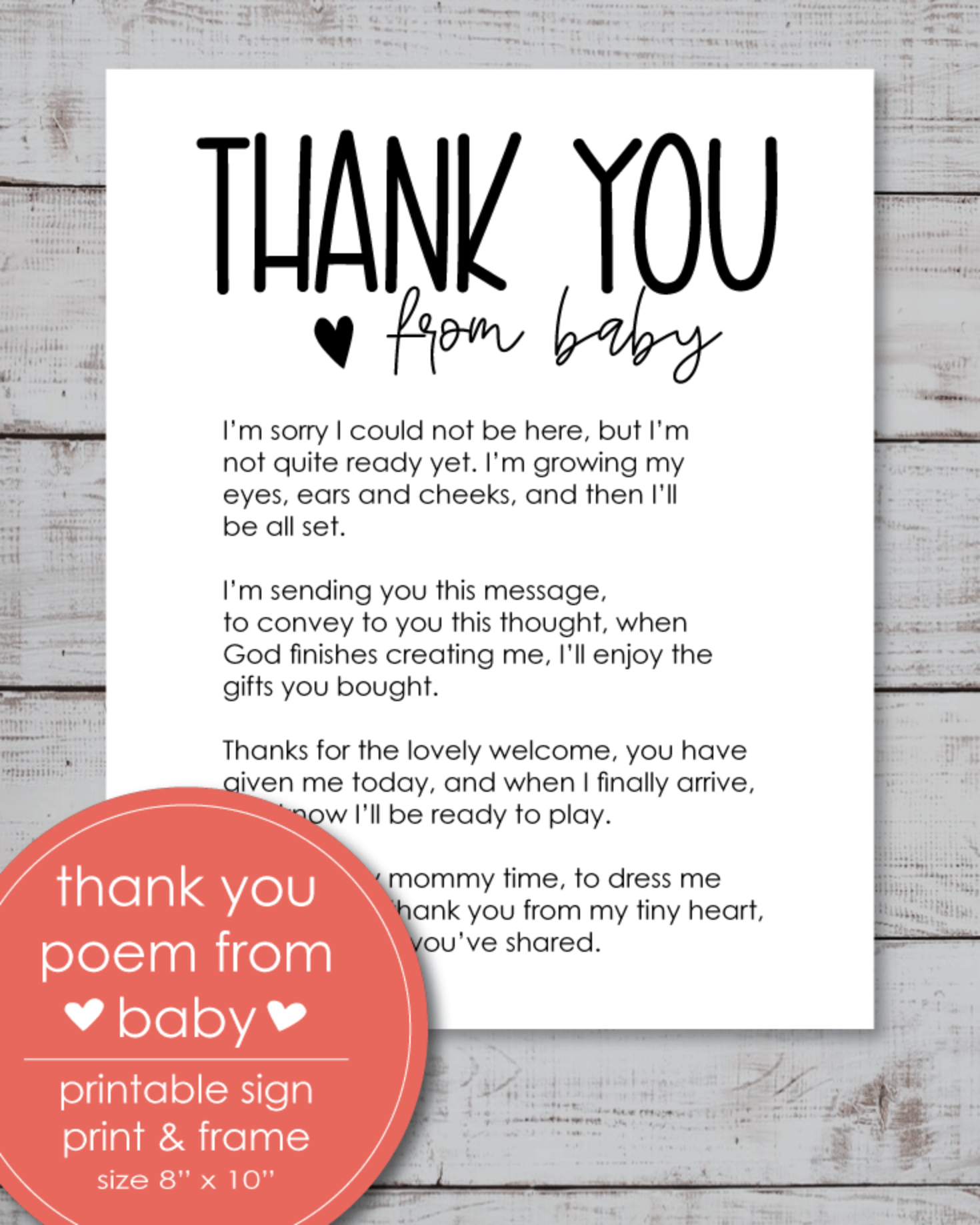 "Printable Thank You Poem From Baby 8x10"" Sign"