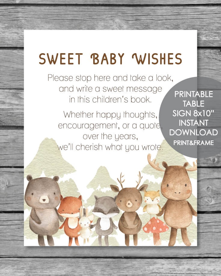 Printable Baby Wishes Book Sign - Woodland Watercolor Theme 8x10""