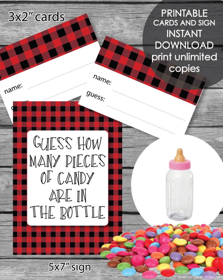 Printable Baby Shower Candy Guessing Game - Holiday Red & Black Lumberjack Buffalo Plaid