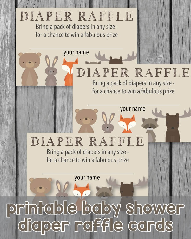 Printable Baby Shower Diaper Raffle Tickets - Woodland Animals Theme