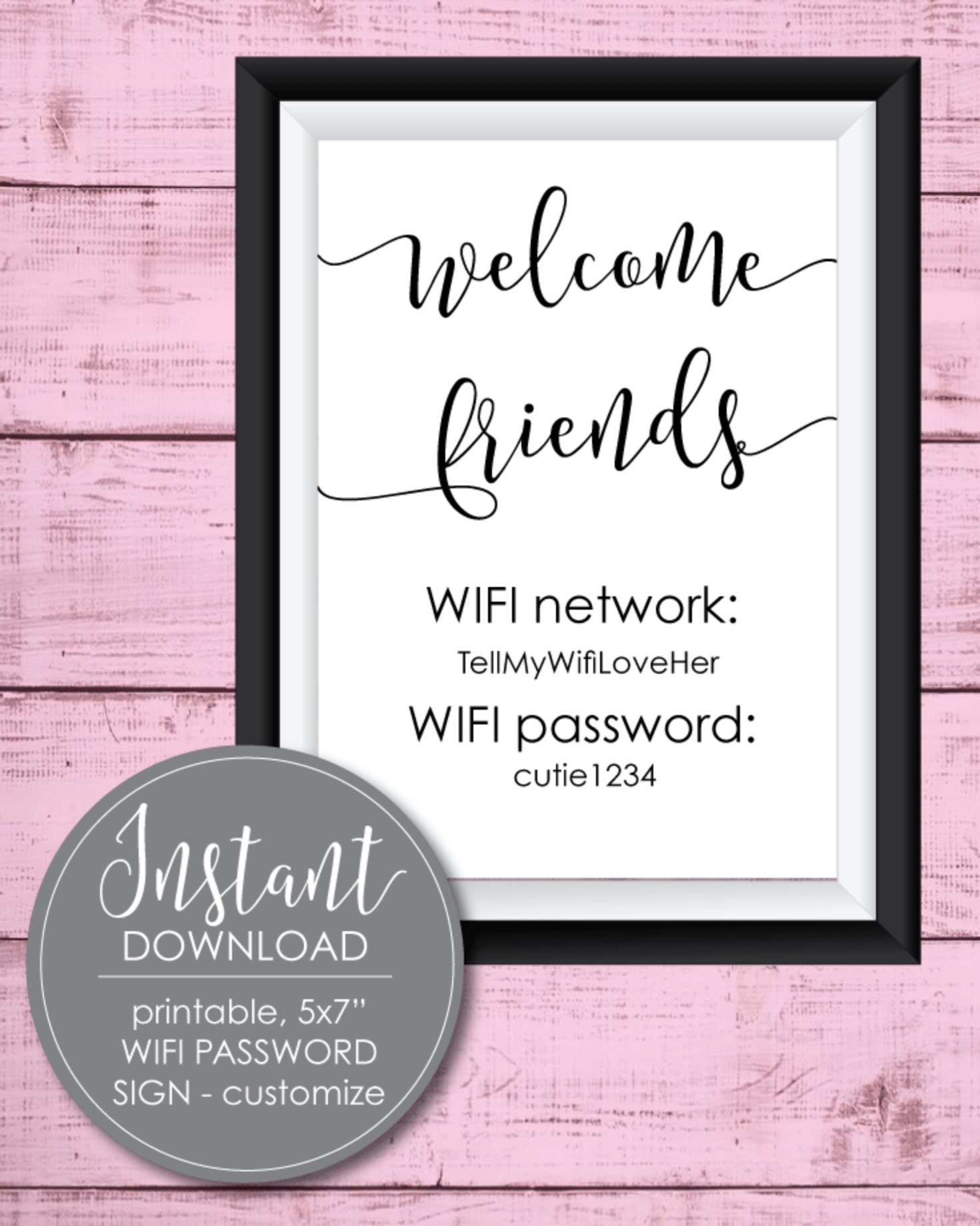 Printable Wifi Password Sign - 5x7""